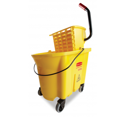 Rubbermaid® WaveBrake® 35 Quart Side Press Combo Mop Bucket & Wringer, Yellow