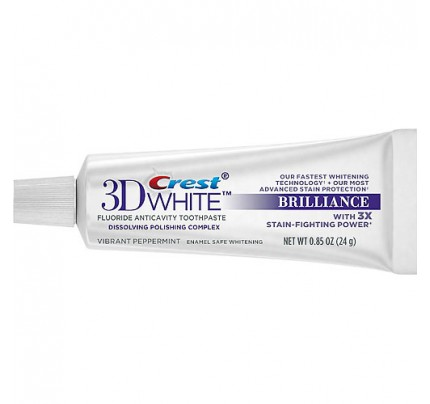 Crest 3D White Brilliance Teeth Whitening Toothpaste, Vibrant Peppermint, 0.85 oz (case of 72)